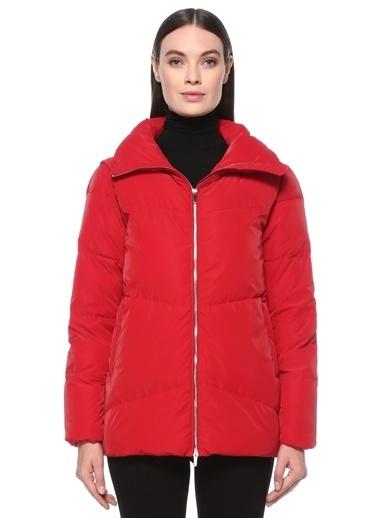 NetWork NetWork 1076035 Basic Fit Dik Yaka Rugan Görünümlü Kadın Puff Mont Kırmızı